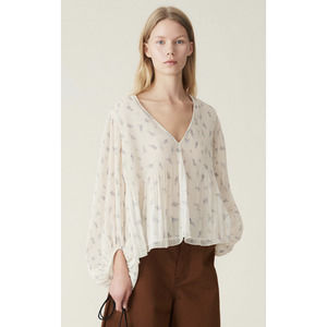 GANNI Pleated Georgette Long Sleeve Blouse 38